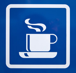sign of coffee with a blue background