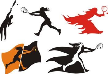 lawn tennis - silhouettes