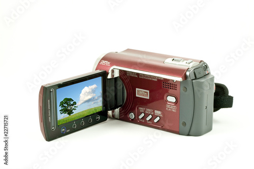 digital video camera with a landscape screen, isolated on white