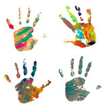 hand print color art craft trace paint