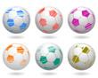 Soccer Balls Icon Set - vector
