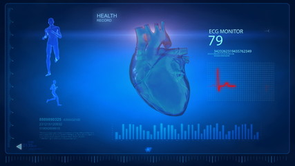 Medical display in loop - heart beat concept