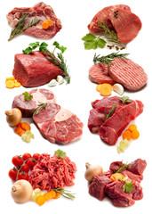 collage of red meat with ingredients-collage carni rosse