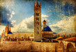 Quadro great italian landmarks  -Siena cathedral