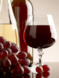 winery still life on the glass with red and white wine poster