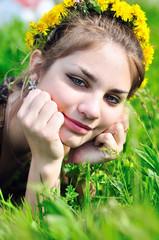 spring dandelion face