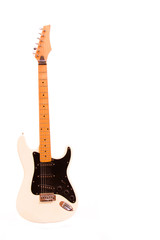 White electric guitar isolated on white background