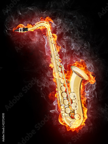 Saxophone in Flame - 22724510