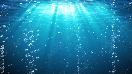Fototapeta Underwater with bubbles. Great for backgrounds.