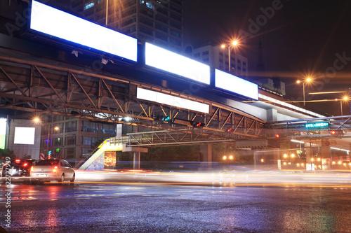 Urban night traffics view. Focus on the road. .