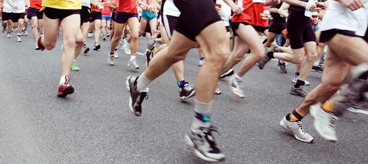 Marathon runners on the run in city