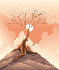 Landscape with tree. Vector illustration.