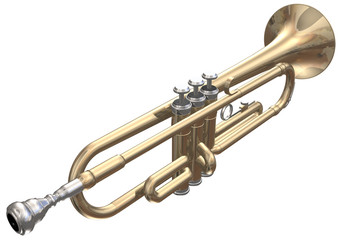Isolated trumpet on a white background