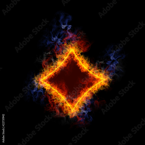Fiery card symbol diamond.