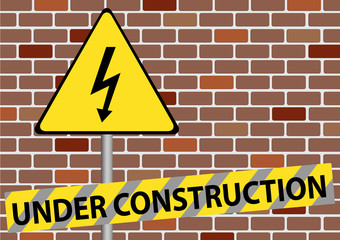 Illustration of under construction sign on brown wall