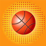 Red basketballs with haftone