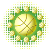 Yellow basketballs with haftone