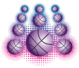 Violet basketballs with haftone