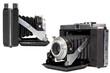 isolated vintage SLR camera - sideways