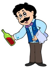 Cartoon waiter serving wine