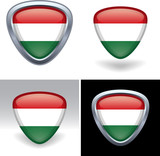 Hungarian Flag Crest Button poster