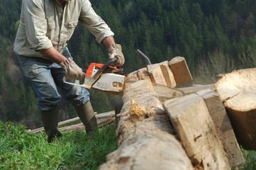 coupe de bois à la tronçonneuse