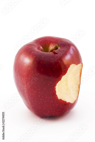 red apple with a biten taken