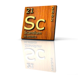 Scandium form Periodic Table of Elements - wood board