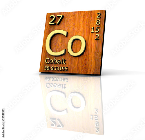 Cobalt form Periodic Table of Elements  - wood board