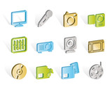 Media equipment icons - vector icon set poster