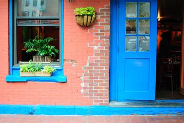 The facade to a hip cafe in Tribeca, New York City.