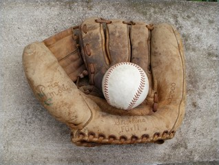 Old baseball and mitt