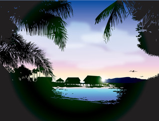 Tropical landscape: quiet sunset