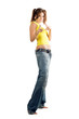 Young woman in wide jeans