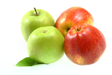 Ripe fresh red and green apples