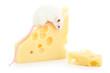 Maus sitzt auf einen Käse und frisst ihn