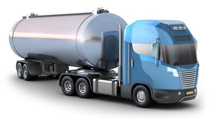 Oil Tanker truck. Isolated on white