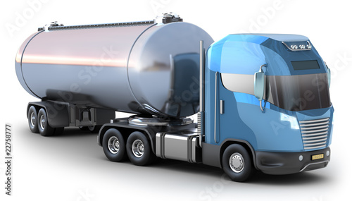 Oil Tanker truck. Isolated on white