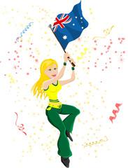 Australia Soccer Fan with flag