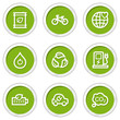 Ecology web icons set 4, green circle buttons