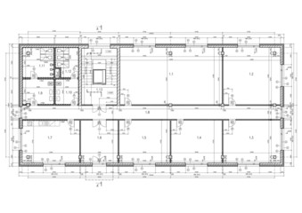 Construction drawing of an office building.