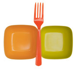 Vibrant Plastic Bowls and Fork