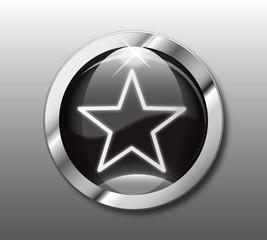 Black star button vector