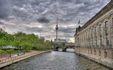 Berlin, Germany, museum island with skyline