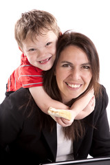 Working mom with son and sandwich