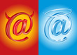 Email symbol - devil and angel, good vs bad