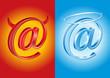 Email symbol - devil and angel, good vs bad