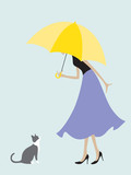 Umbrella Girl Meets a Cat