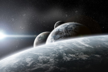 Planets in space over a sunshine