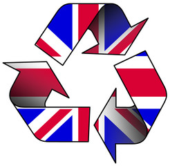 Recycle logo containing the UK flag